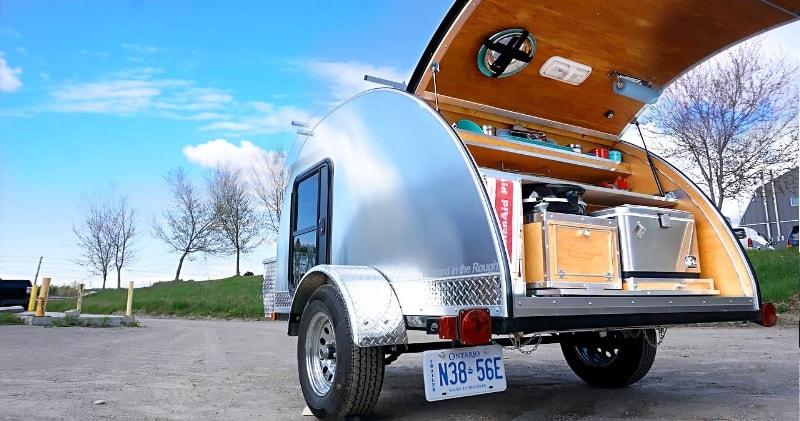 Hand-Built Teardrop Camper Trailer with Solar Power & Running Water