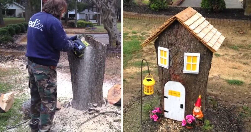 Turn A Tree Stump Into An Adorable Gnome Home For Your Yard