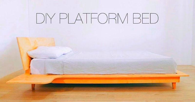 Diy Platform Bed With Build In Floating Nightstands Sia