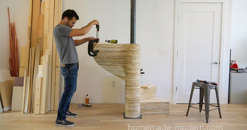 DIY Spiral Staircase Out Of Plywood Made With A CNC