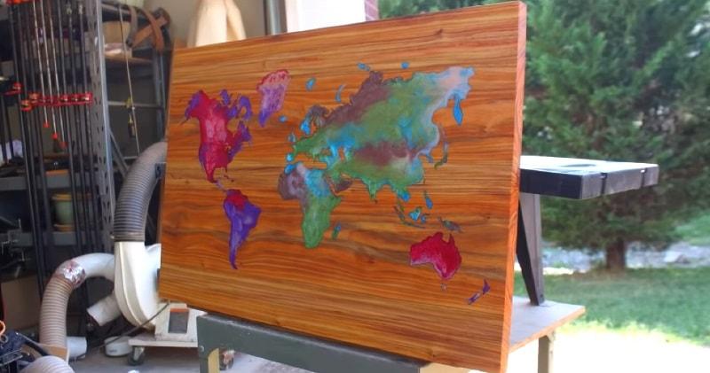 Diy Woodworking Resin Wood World Map Wall Art Sia Magazin